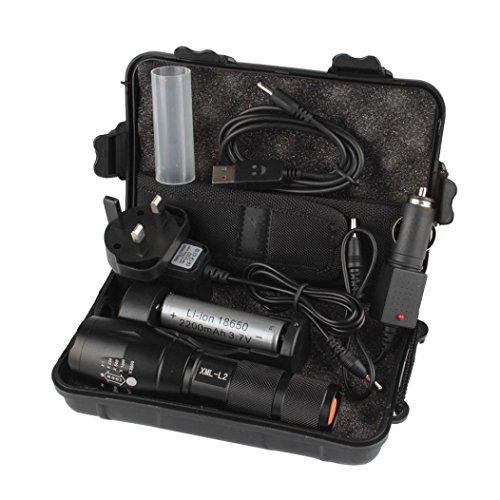 SUCES Taschenlampen-Set 6000LM Shadowhawk X800 L2 LED ZOOM Taschenlampe Starke Batterie LED Taktische Polizei Taschenlampe + Akku + Ladegerät + Gehäuse (Black)
