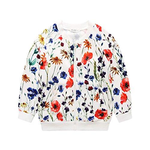 (Sanlutoz Mädchen Blumen Drucken Jacke Kinder Draussen Frühling Herbst Oberbekleidung Kleidung (5-6 Jahre / 120cm, CCG1653))