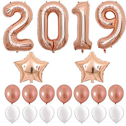 Tianzhiyi Geburtstagsdekoration Ballon-Set mit Pailletten 2019 Frohes Neues Jahr Ballon Banner Gesetzt Ornament Geeignet für Partys, Hochzeiten, Geburtstage, Feiern