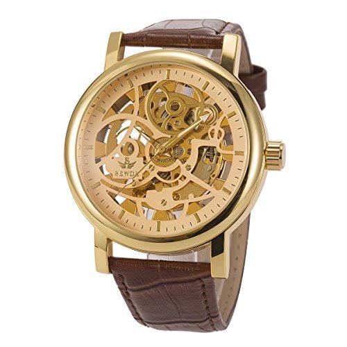 ManChDa Herren Armbanduhr Braun Lederband Großer Fall 48MM XL-Groß Automatischer mechanischer Kristall Goldener Zifferblatt + Geschenkbox (Groß Fall)