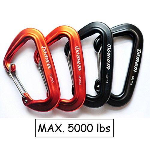 Preisvergleich Produktbild DOMUM 24kN Karabiner Carabiner Schräg Wiregate Schnelle Zeichnung Cips Halten Sie 5000LBS (2-Pack Orange, 2-Pack Schwaraze)