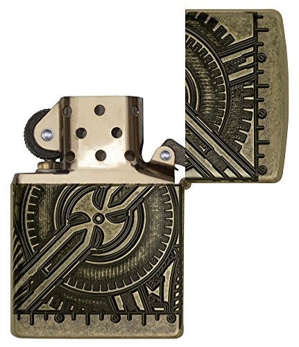 513P OK3ziL - Zippo Unisex's Armor Steam Punk Skull Lighter, Antique Brass, regular