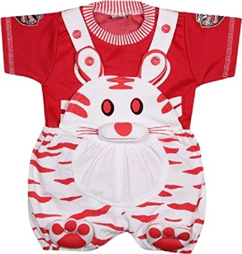Miss U Unisex Dungaree set with T shirt (cat-red_Red_0-6 Months)