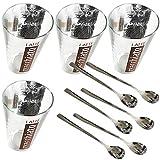 Mediablue Latte Macchiato Gläserset mit Gläsern und langem Löffel (4 Gläser + 4 Löffel)