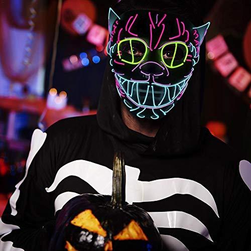 LED-Licht bis Maske EL Draht Halloween Kürbis Maske Weihnachten Halloween DJ Geburtstag Cosplay Grimace Festival Party Show Masken, schwarz