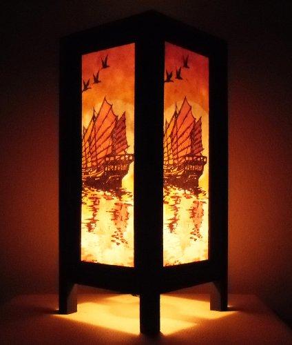 rare-asie-thai-lampe-de-tables-bouddha-style-chevet-barque-symboles-de-la-richesse-par-thailande
