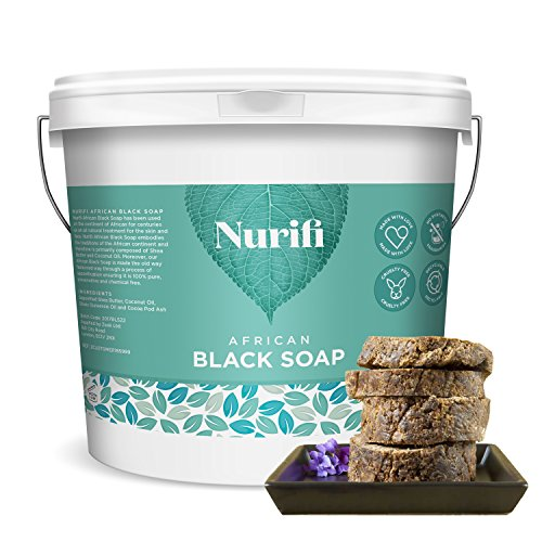 Nurifi Organic African Black Soap - 500g - made from Coconut Oil and Shea Butter