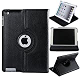 Nv Leather 360 Degree Rotating Folio Case Cover Stand for iPad 2/3/4 (Black)
