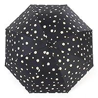 JUNDY Umbrella   Windproof Small Compact Handheld Travel Umbrella for Men, Women   Discoloration tri-fold umbrella black gel sunscreen