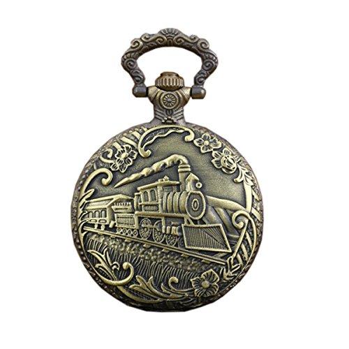 Messing Vintage Taschenuhr mit Kettenzug gravierte Anhänger Fob Uhr Halskette
