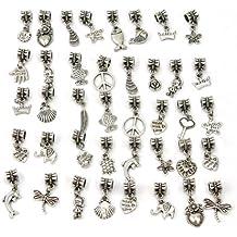 40Pcs Mode Argent Tibétain Métal Perles Collier bracelet bijoux DIY Pandora Intercalaires breloque Charms Décor