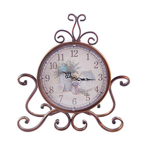 Tosbess Retro Tischuhr Nostalgie Antik Vintage Metall Standuhr Dekowecker Uhr