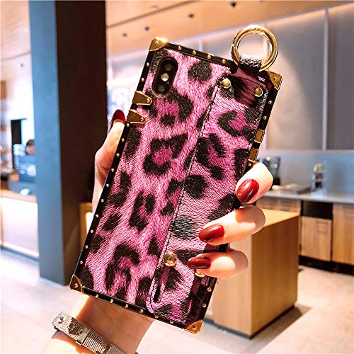 GUYISJK iPhone-Handyhülle Handy Shell Europa Und Amerika Armband Apple Leopard 7 Plus All-Inclusive-X 8 Plus Tide Marke Apple XS Max Silikon Bruchsicher Schutzhülle 6 S Weiblichen Luxus 8X Mode Ha