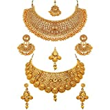 Sukkhi Glamorous Gold Plated Choker Necklace Set Combo for Wom