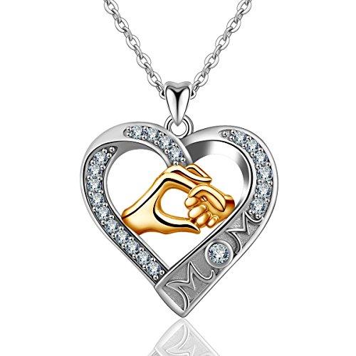"""Halskette für Mama, 925 Sterling Silber zwei Ton""""Mutter der Liebe"""" Anhänger Halskette, AEONSLOVE Schmuck Bestes Geschenk für Mama Tante Großmutter (Mama hält meine Hand in Herzform)"""