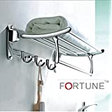 Fortune Platinum Stainless Steel Folding Towel Rack 1.5 feet Long with Chrome Finish for Bathroom