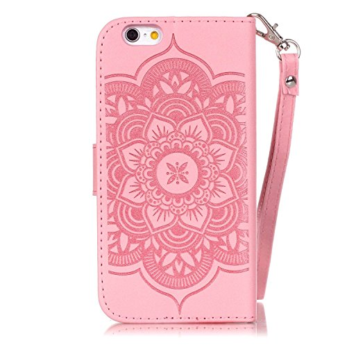 iPhone 6 Plus Hülle,iPhone 6S Plus Ledertasche - Felfy PU Ledertasche Luxe Eleganz Bookstyle Ledertasche Schutzhülle Edle Temperament Campanula Flower Muster Bling Brillant Diamonds Flip Standfunktion Bling Rosa