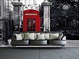 1 Wall - carta da parati con cabina telefonica di Londra, colore: bianco/nero/rosso