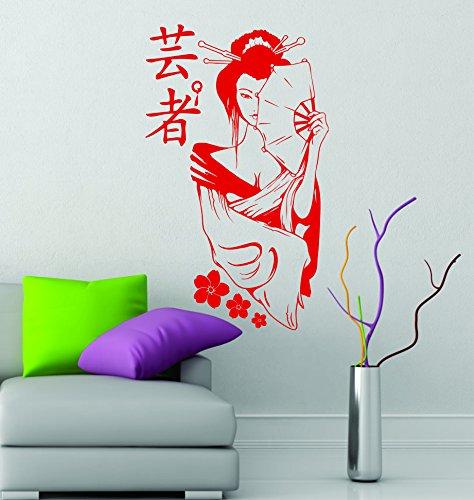 Geisha Cherry Blossom Manga Girl, japanisches Design, Anime Art, Vinyl, 90 cm x 55 cm, (Cherry Girl Kostüme)