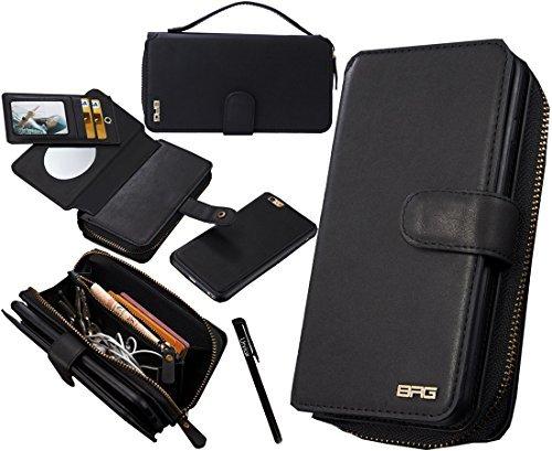 urvoix iPhone 6Plus/iPhone 6S Plus Tasche, Premium Leder Reißverschluss Geldbörse Multifunktionale Handtasche Abnehmbare Magnetic Schutzhülle mit Flip Card Holder Cover für iPhone 6Plus/6S Plus (14cm) (Reißverschluss Leder Geldbörse)