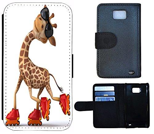Flip Cover Schutz Hülle Handy Tasche Etui Case für (Apple iPhone 5 / 5s, 1213 Orchidee Blume Gelb Lila) 1205 Giraffe Braun Rot Weiß Animiert