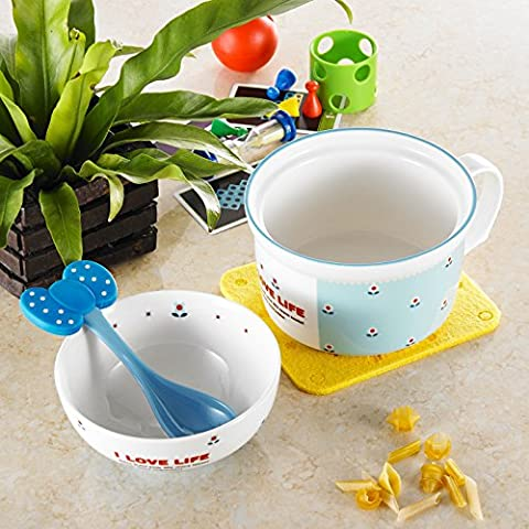 Panbado Porcelain Cute Cartoon Noodles Bowl Ceramic Lovely Serving Cereal Bowl Cup Mug with Spoon for Children Kids