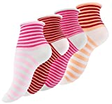 12 Paar Vincent Creation® Damen Kurzschaft Socken mit Rollrand und bunten Ringel