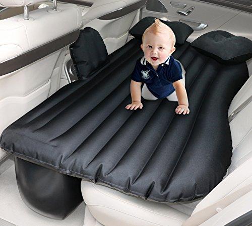 #COFIT Auto Luftmatratze und Luftbett für die Rücksitzbank I Perfekt fürs Camping, am Strand oder den Roadtrip, Schwarz I inkl. elektrischer Pumpe und Zwei Kissen#