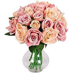 Famibay Rose Künstliche Blumen 18 Rosen 2 Blumensträuße für Hochzeit Seidenblumenstrauß(Champagner,Keine Vase )
