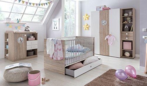 Babyzimmer, Kinderzimmer, Komplett-Set, Babymöbel, Babybett, Wickelkommode, Babyausstattung, Komplett, Schrank, Eiche sägerau, alpinweiß, Sonoma