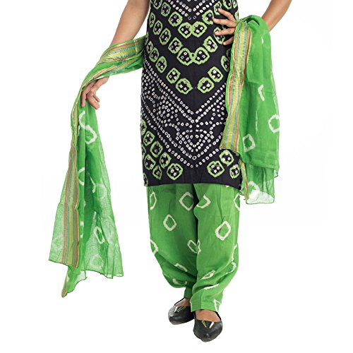 Lodestone Pure Cotton Black & Green Bandhani Dress Material
