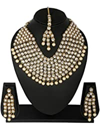 Traditional Jewellery Kundan Necklace Set With Maang Tika And Earrings For Women - B07F87PRYY