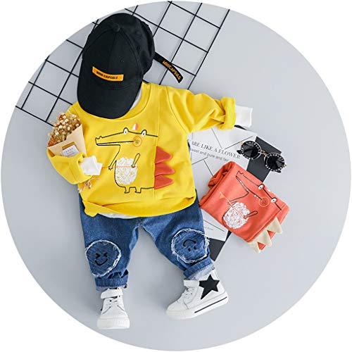 MRULIC Reizender Baby Playsuit Overall Kaninchen Ohr Badysuit stellt Outfit Pullover Jumper Herbst Frühlings Oberbekleidung Langhülse Knopf unten Hosen EIN (105-110CM, A4-Gelb)