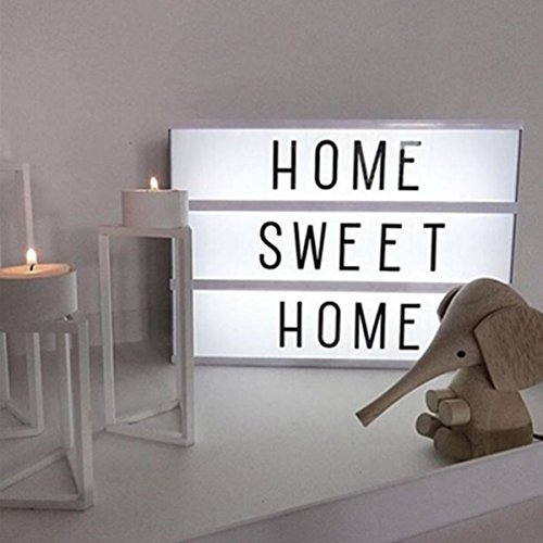 Light Box lettere, M.Way 204 A4 Lettere e Simboli 3 Righe Decorazioni Lampada LED Cinema Box Luminosa Cinematografica Lampada con Colorati Flessibili, Decora la Tua Vita