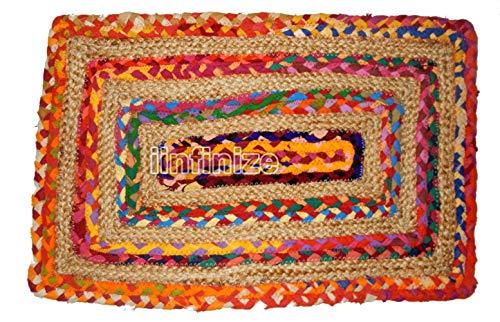 IINFINIZE indische Handgefertigte Fußmatte 18 x 24 cm aus Jute-Baumwolle geflochtener Türstopper Betenmatte Yogamatte Ethnische Jute-Türstopper für drinnen und draußen