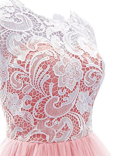 Dresstells, Robe de soirée Robe de cérémonie mode de bal en tulle dentelle longueur ras du sol Blush