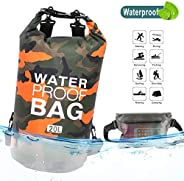 Idefair Waterproof Dry Bag 10L 20L, Floating Backpack with Waist Pouch, Lightweight Roll Top Dry Compression S