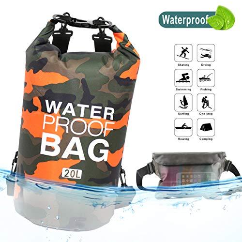 Idefair Bolsa Seca Impermeable, Mochila Seca Flotante Bolsa de Playa Saco seco liviano para la Playa, Paseos en Bote, Pesca, Kayak, natación, Rafting, Camping10L 20L (Naranja, 20L)