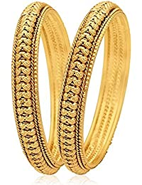 TRADITIONAL DESIGN TRENDY GOLD PLATED BANGLES SET FOR WOMEN SIZE 2.8