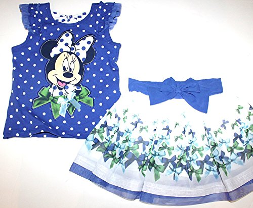 Flutter Sleeve Knit Dress (Disney Minnie Mouse Preschool Girls 2 Pc Blue Outfit Top & Tulle Skort Skirt (4))