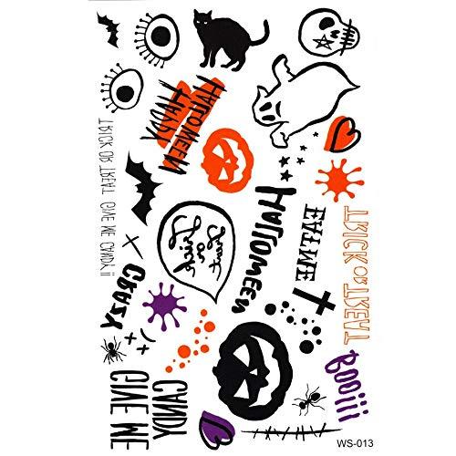 Yyoutop 20 stücke Kürbis Kreuz Schädel Schwarze Katze bat Boo Tattoo Aufkleber Tattoo Body Art Halloween Temporäre Tattoos Aufkleber 5 Satz