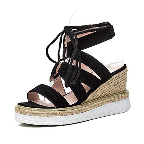 KJJDE Damen Riemchen Wedges Sandalen WSXY-L1910 Kreuzgurte Im Römischen Stil Atmungsaktiv High Heels Schuhe Bequem, Black,38 (Römischen Stil Kleider)