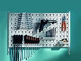 Element System Werkzeuglochwand aus Metall plus 19 teilig Werkzeughalterset inklusive Schrauben und Dübel, Werkzeugwand weiß, Werkbankzubehör