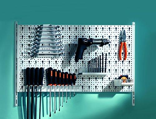 Element System 11300-00004 Kit 2 pour Accrochage d'outils 19 supports d 'outils différents incluant vis/chevilles 800 x 400 mm Blanc