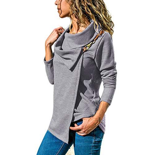 NPRADLA 2018 Sweatshirt Damen Oversize Lang Mode Frauen Top T-Shirt Bluse Elegant Herbst Winter Casual Langarm Bogenkragen(Grau,M/EU Gr.42)
