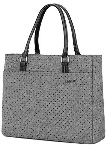 FOSTAK Bolsos totes/Bolso de hombro para mujer Bolso de viaje Messenger Bag elegante Bolsas portátiles para negocio que trabaja Notebook/ordenador portátil de 15.6 Inch,Gris-negro