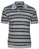 REALLY POINT Herren Poloshirts Jersey Blousonshirts im Ringeln-Look-Navy-Grau-L