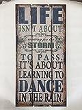 Wandbild Holzschild Bild Zitat Life Storm Dance Rain Shabby Vintage 40x80cm