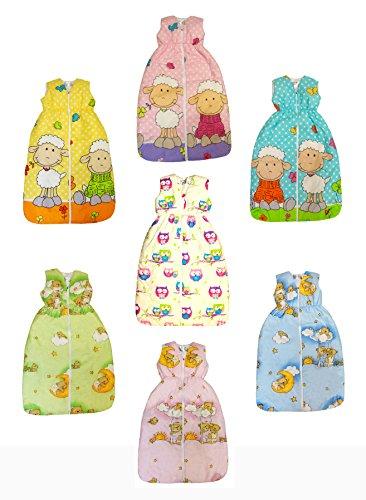 BOMIO Winter Schlafsack | Baby- und Kleinkinder-Schlafsack | sicherer komfortabler Schlaf | 100% Baumwolle Oeko-Tex zertifiziert | (Schäfchen (Türkis), 90 cm (6-18 Monate))