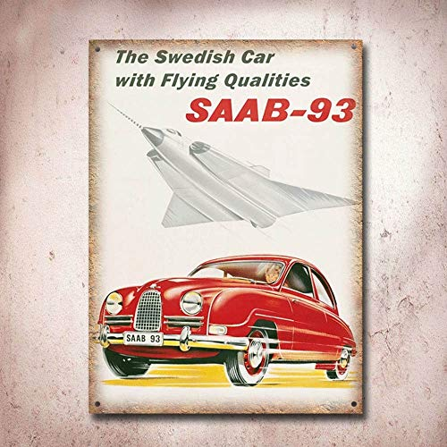 Used, Saab-93 Vintage Garage Advertisement Tin Sign Metal for sale  Delivered anywhere in Ireland